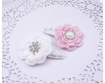 Pink Hair Clips, Baby Hair Clips, Flower Hair Clips, Crochet Hair Clips, Pink and White Clippies, ZBB