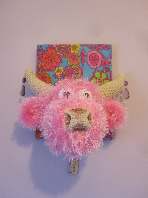 Amigurumi With Eyelash Yarn : OOAK Quirky Eyelash Yarn Crochet Pink Fluffy Highland Coo Cow