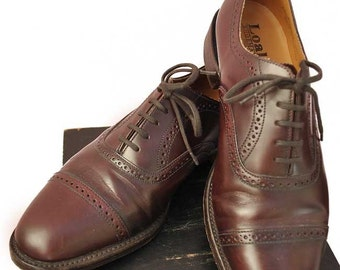 Mens Cherry Brown Leather Loakes Oxford Brogue Shoes • Made in England Size 8