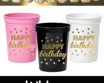 Adult Birthday Party Decorations Adult Birthday Decorations Cups Black and Gold Birthday Decorations Birthday Ideas (EB3104BY)set of 25 CUPS