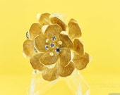 Magnolia flower Brooch 14K Yellow Gold