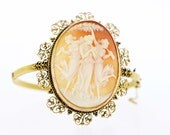 Large Cameo 14K Gold Hinged Bracelet with Filigree