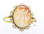 Large Cameo 14K Gold Hinged Bracelet with Filigree