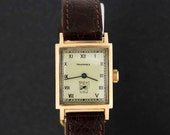 14K Gold Tavannes Wrist Watch with Seconds Dial Rectangular Case