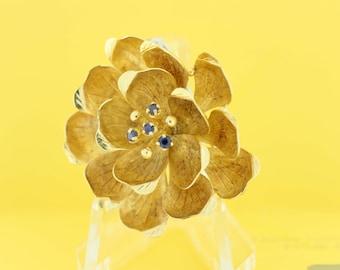 Magnolia flower Brooch 14K Yellow Gold