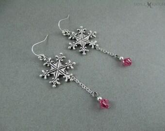 Frozen Snowflake Earrings - Elsa - Silver Charms