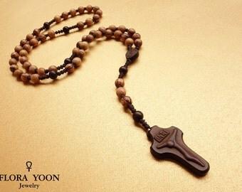 Knotted Olive Wood Rosary, Catholic Rosary, Olive wood beads from Nazareth,Five decade,Holy Rosary, Catholic Gift