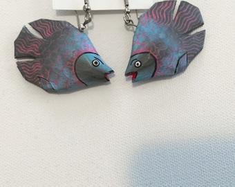 Vintage Beta fish Handmade Wooden Earrings