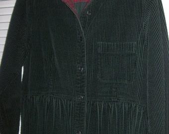 Vintage Eddie Bauer Corduroy Maxi Preppy Prairie  Long Sleeved Dress - Size 10