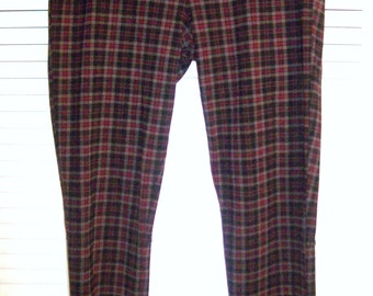 Pants Large, Vintage Plaid Skinny Pants or Leggings. 80's FIND  Pull-on  !  Size Large