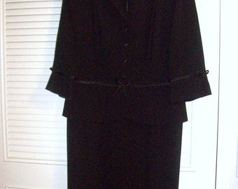 Vintage  Julian Taylor Victorian Black Downton Abby Period Maxi Dress Size 12