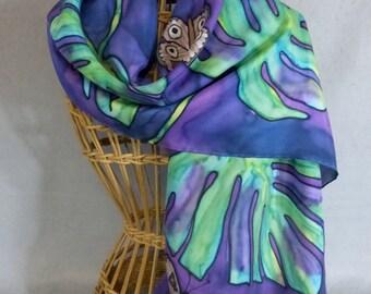 "Silk Scarf ""Purple Butterflies"", Hand Painted Silk Scarf, Purple Silk Scarf"