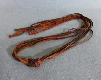 "Hand Painted Silk Cords ""Brown-Rust"" (Set of 6)"