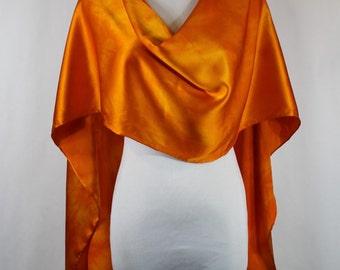 "Silk Scarf, Hand painted silk scarf Apricot, elegant Charmeuse 14""x72"""