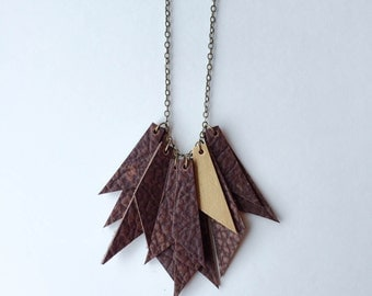 Recycled Leather Bunch Necklace