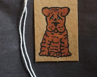 Hand painted Shar Pei Gift Tag