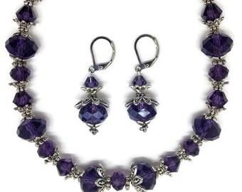 Purple Necklace, Purple Earrings, Crystal Necklace, Crystal Earrings, Plum Earrings, Plum Necklace, Purple Drop Earrings, Purple Jewelry Set
