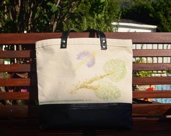 Hipster Tote Bag /Large Canvas Tote Bag / Black Tote Bag / Inspirational Tote Bag