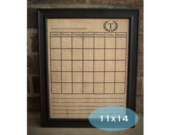 dry erase calendar on burlap 11x14 with monogram and notes section select with or without frame dry erase calendar with notes section