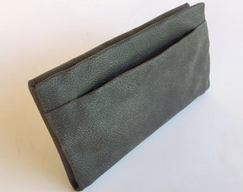 Gray leather wallet,Large leather wallet,Gray leather purse women,Large purse money wallet