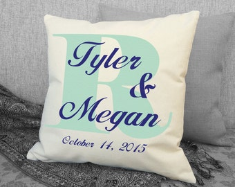Monogram Cotton Wedding Pillow Personalized with First Names and Wedding Date - Wedding Gift, Anniversary Gift - 2nd Anniversary SPS-131