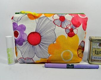 Watercolor flowers trapezoid pochette, cotton zippered purse. All purpose purse.