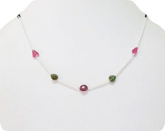 Watermelon Tourmaline pendant necklace with Silver chain,Green Tourmaline,Pink Tourmaline,Multi color Watermelon Tourmaline faceted beads