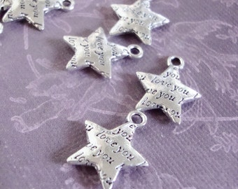 Love You Star Charms,5pcs