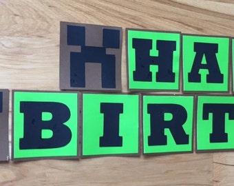 Minecraft Birthday Banner - Minecraft Party