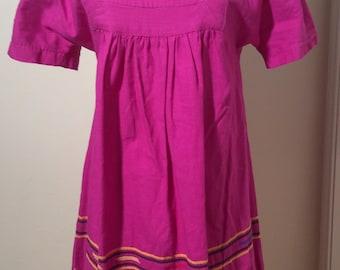 Vintage 1970s Magenta Mexican/Guatemalan Baby Doll/Boho Cotton Dress