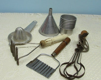 Rustic Farmhouse Kitchen Utensils Collection ~ Group of 6 ~ Hand Mixer ~Aluminum Cups~Country Kitchen Décor~Photograph Props~Rustic Kitchen