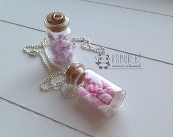 Marshmallows, Candy, Sweets, Bottle Necklace