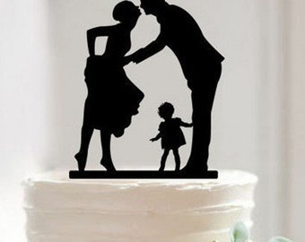 Wedding Cake Topper, Bride and Groom with Little Girl