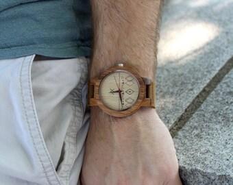 Mens Zebrawood Wood Watch With Custom Engraving, Wooden Watch for Him, Gift for Him, Mens Wood Watch, Mens Wooden Watch, Wedding Gift, Wood