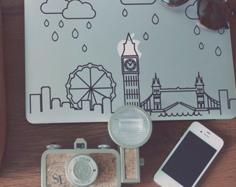 Modernist London Skyline Raindrops Macbook Decal with Raindrops