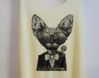 Alien Cat Meow Glasses Shirt Animal sphynx tshirt Women Shirt Tank Top Women T-Shirt Tunic Top Vest Size S,M,L