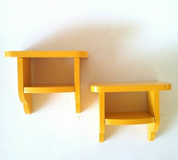 yellow floating shelves shelf gold solid wood decor pair