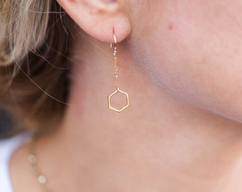 Dangle Hexagon Drop Earring // Gold Filled Hexagon Earring // Gold Filled Earrings // Everyday Simple Earring // Modern Earrings