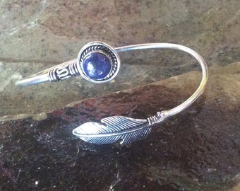 Silver Plated Bracelet,Adjustable Bracelet,Tribal Bracelet,Gemstone,Lapis Lazuli Stone,Boho Bracelet,Bohemian Bracelet,Indian Jewelry,Bangle