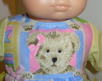 "15 inch Bitty Baby Clothes, Adorable ""TEDDY BEAR"" Dress, 15 inch AG Bitty Baby or Twin Doll, 15 inch Baby Doll Clothes, Love My Teddy Bear!"