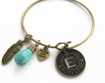 "Bronze Stacking Bracelet ""Excellence"" Bronze Wire Bracelet Bronze Charm Bangle Bracelet Bronze Charm Wire Bangle Bracelet (JB87)"