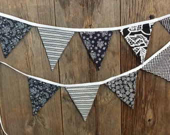 Banner, Pennant, Bunting, Black and White Banner, Party Decorations, Nursery Decoration, Curtain, Valance,
