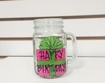 Monogram Hand-Painted Happy Birthday Mason Jar Mug