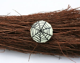 Halloween Glow in the Dark Spider Web Silhouette Hand-painted Adjustable Ring