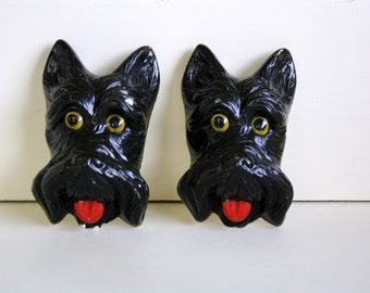 Chalkware Carnival Prize Scottie Dogs Wall Plaque
