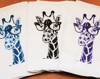 Giraffe Tea Towel Set of 3 - Screen Printed Organic Cotton - Flour Sack Towel - Animal Tea Towels - African Theme