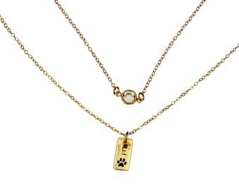 Dog Paw Necklace, Dog Paw Print Jewelry,  Dog lover,Pet Necklace, Personalized Dog Necklace, Personalized Initial Charm, Initial Pet Jewelry