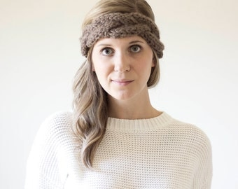 Chunky Cabled Braid Knit Headband | The Beacon | Taupe