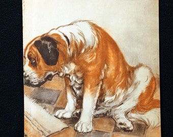 Diana Thorne Color Illustration Lithograph from Major And The Kitten #5 * Delightful 1941 Childrens Book Page Animal Print