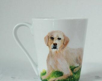 Hand painted mug with labrador